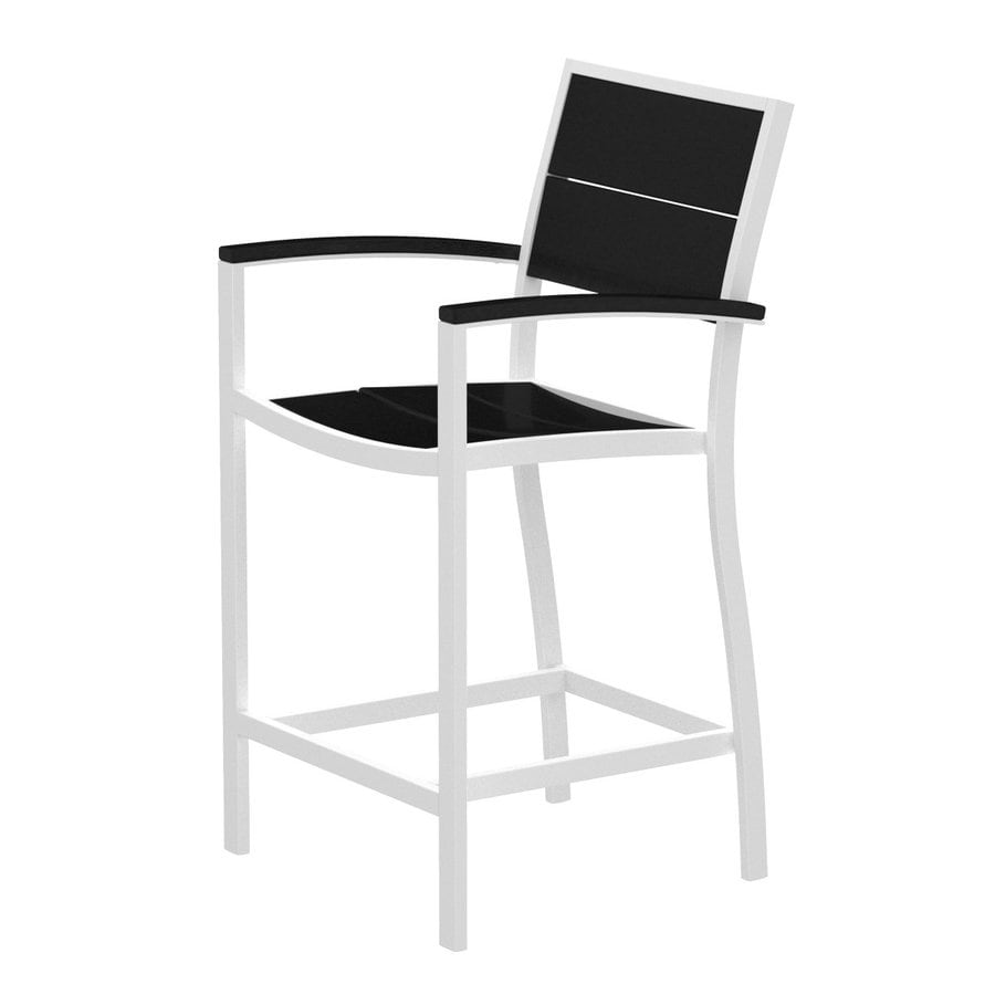 Trex Outdoor Furniture Surf City Textured White/Charcoal Black Aluminum Patio Barstool Chair