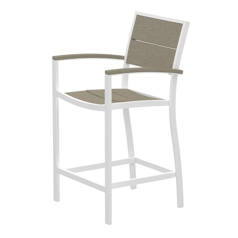 Trex Outdoor Furniture Surf City Textured White Aluminum Patio Barstool