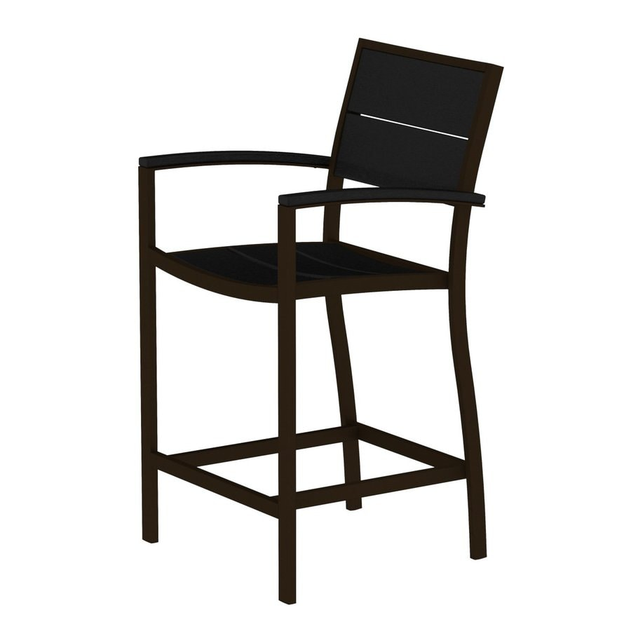 Trex Outdoor Furniture Surf City Textured Bronze/Charcoal Black Aluminum Patio Barstool Chair