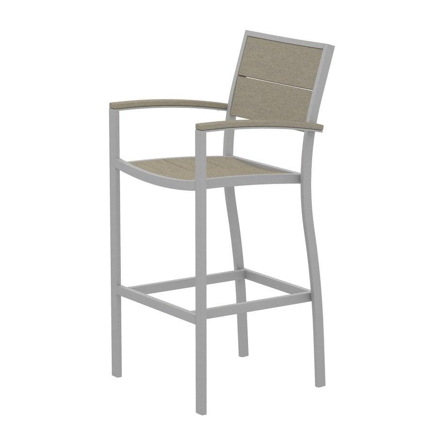 Trex Outdoor Furniture Surf City Textured Silver Aluminum Patio Barstool