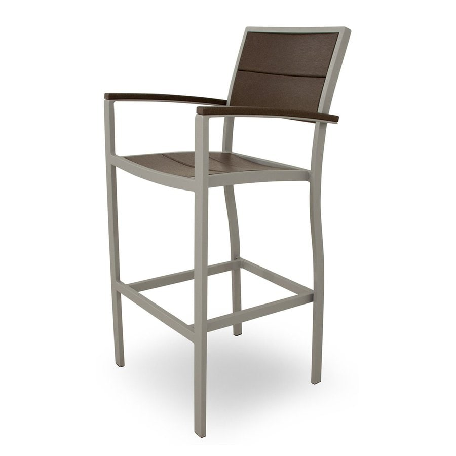 Trex Outdoor Furniture Surf City Textured Silver/Vintage Lantern Aluminum Patio Barstool Chair