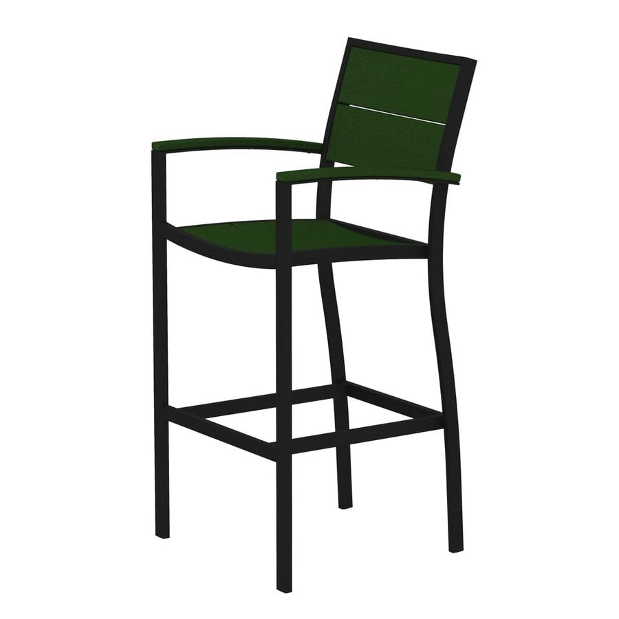 Trex Outdoor Furniture Surf City Textured Black/Rainforest Canopy Aluminum Patio Barstool Chair