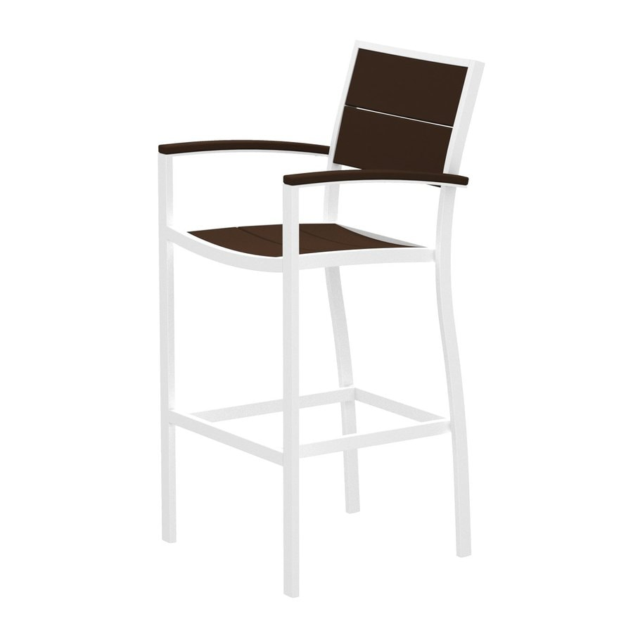 Trex Outdoor Furniture Surf City Textured White/Vintage Lantern Aluminum Patio Barstool Chair