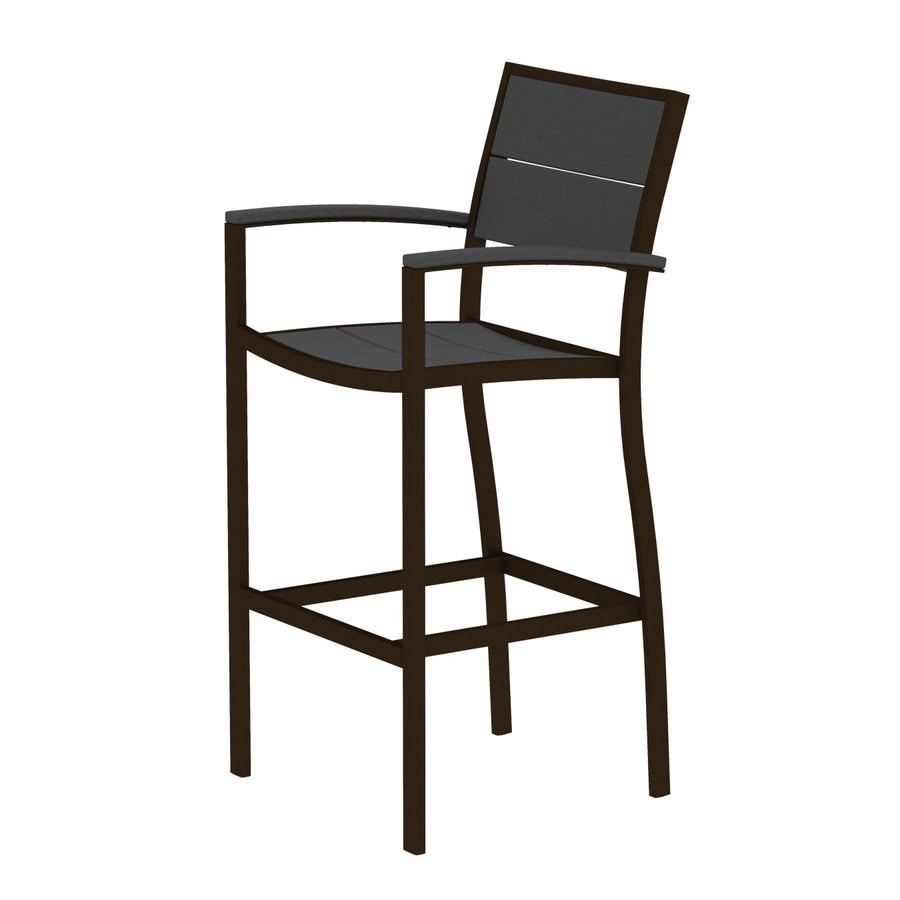 Trex Outdoor Furniture Surf City Textured Bronze/Stepping Stone Aluminum Patio Barstool Chair