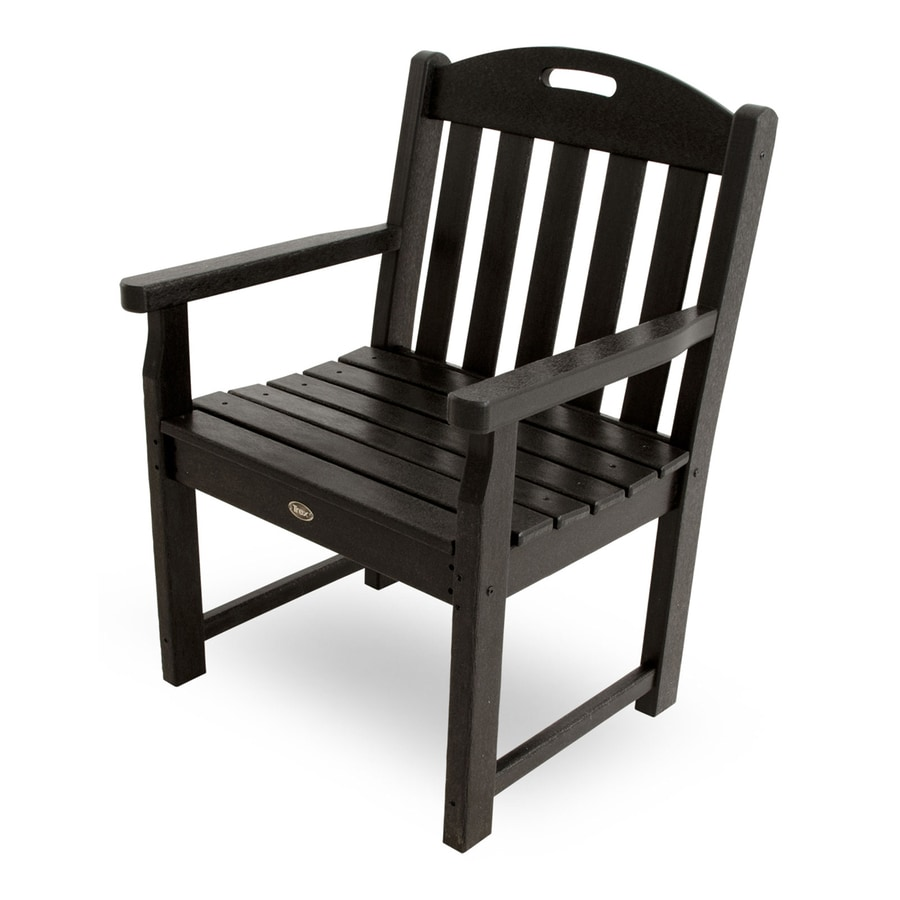 Trex Outdoor Furniture Yacht Club Charcoal Black Plastic Patio Conversation Chair