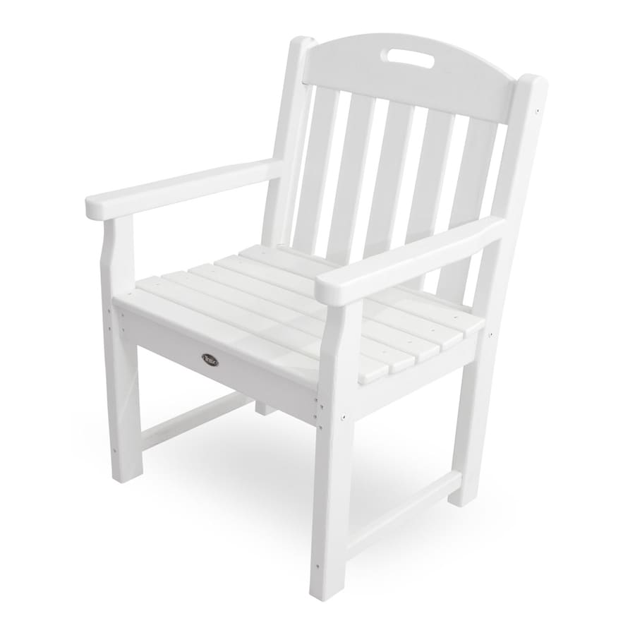 shop trex outdoor furniture yacht club classic white plastic patio conversation chair at. Black Bedroom Furniture Sets. Home Design Ideas