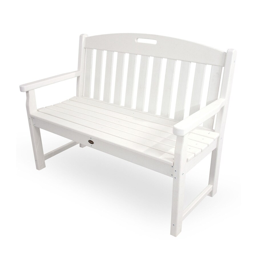 Trex Outdoor Furniture Yacht Club 24.25-in W x 47.5-in L Classic White Plastic Patio Bench