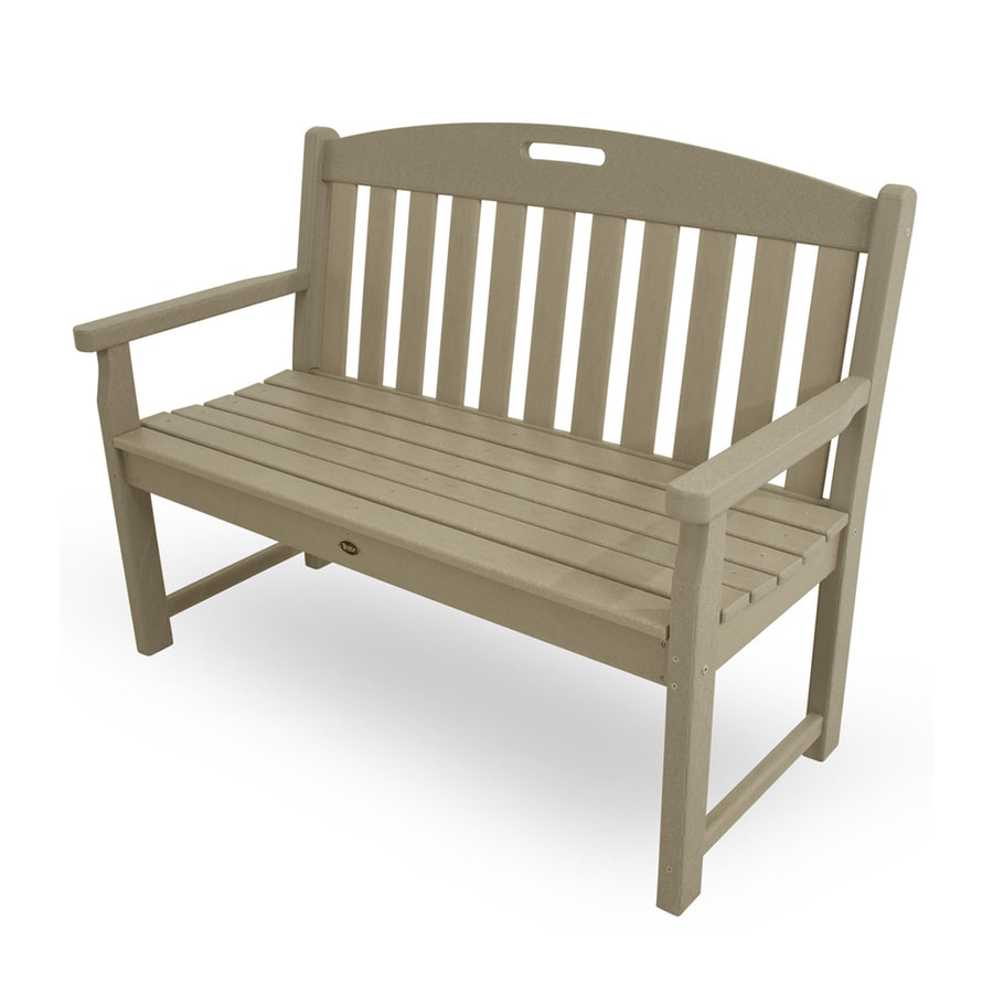 Trex Outdoor Furniture Yacht Club 24.25-in W x 47.5-in L Sand Castle Plastic Patio Bench
