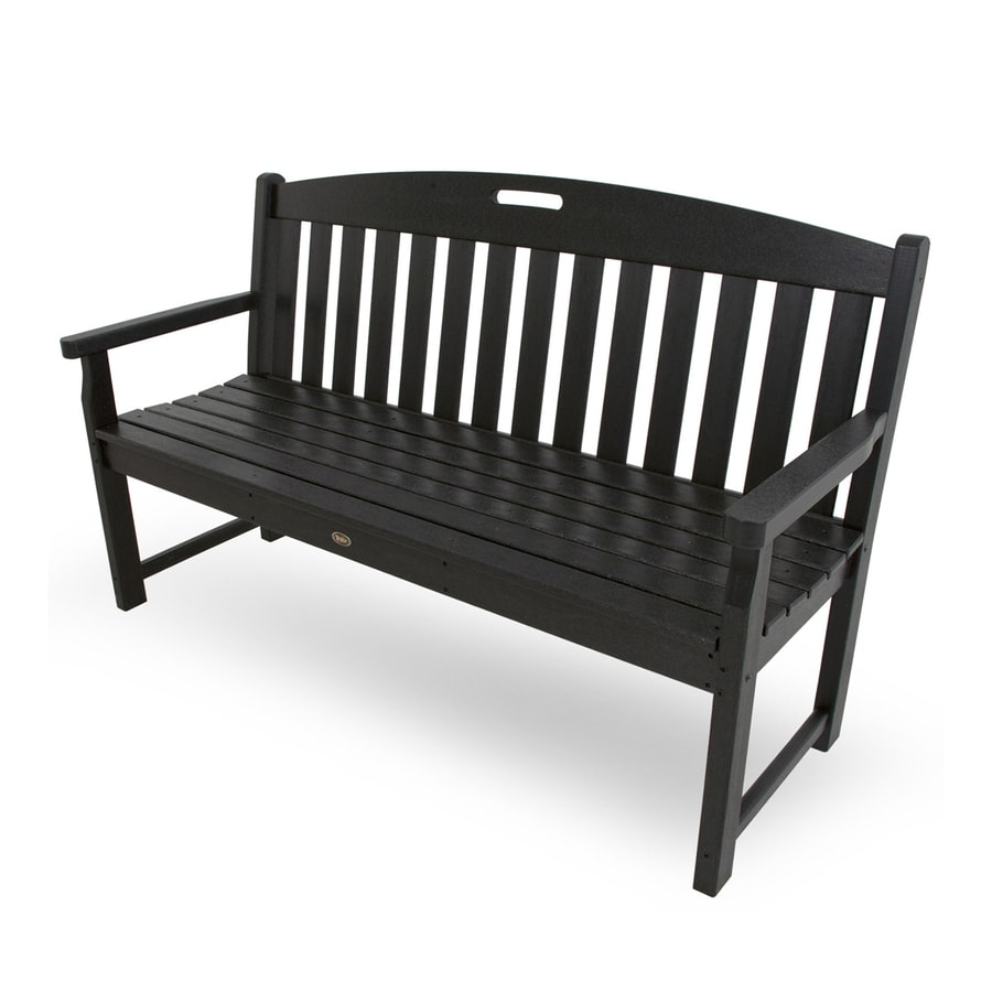Trex Outdoor Furniture Yacht Club 24.25-in W x 59.5-in L Charcoal Black Plastic Patio Bench