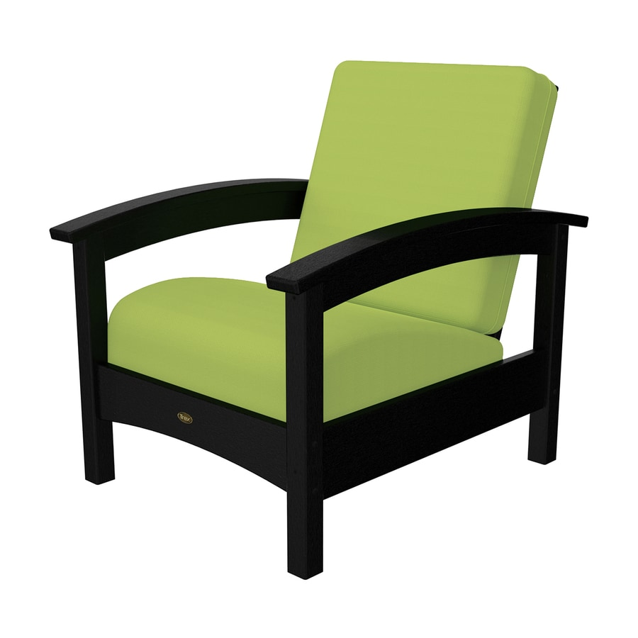 Trex Outdoor Furniture Rockport Charcoal Black/Canvas Macaw Plastic Patio Conversation Chair