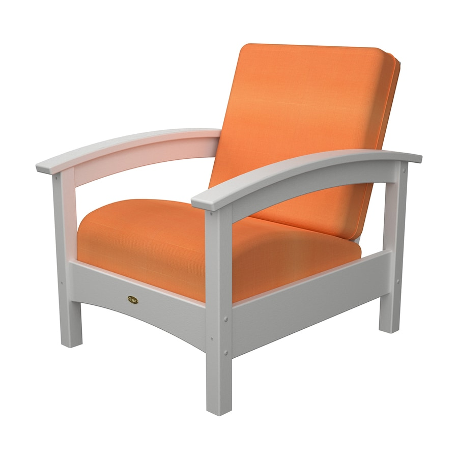 Trex Outdoor Furniture Rockport Classic White/Canvas Tangerine Plastic Patio Conversation Chair