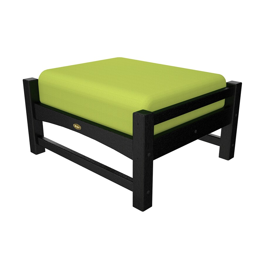 Trex Outdoor Furniture Rockport Charcoal Black/Canvas Macaw Plastic Ottoman