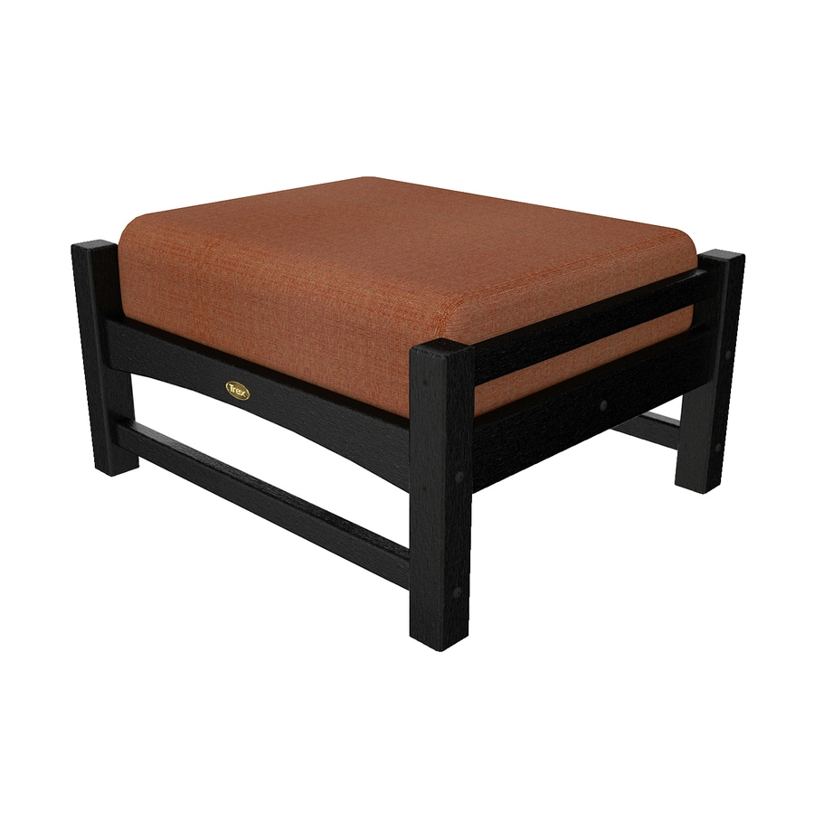 Trex Outdoor Furniture Rockport Charcoal Black/Linen Chili Plastic Ottoman