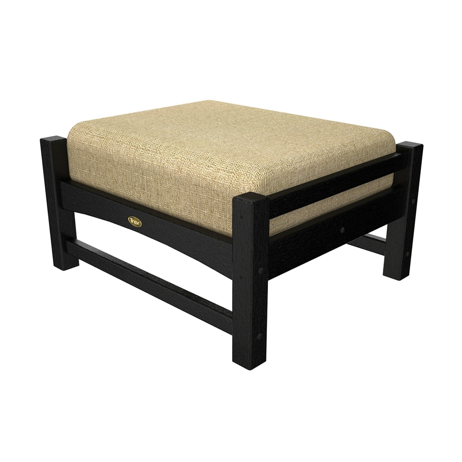 Trex Outdoor Furniture Rockport Charcoal Black/Linen Sesame Plastic Ottoman