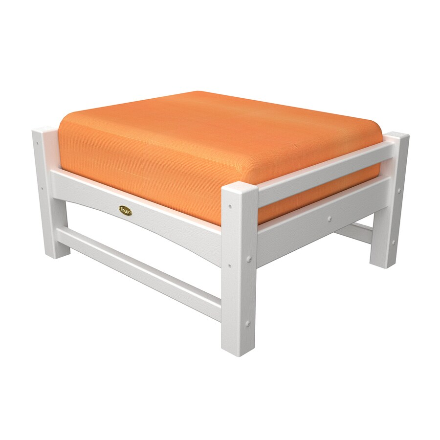 Trex Outdoor Furniture Rockport Classic White/Canvas Tangerine Plastic Ottoman