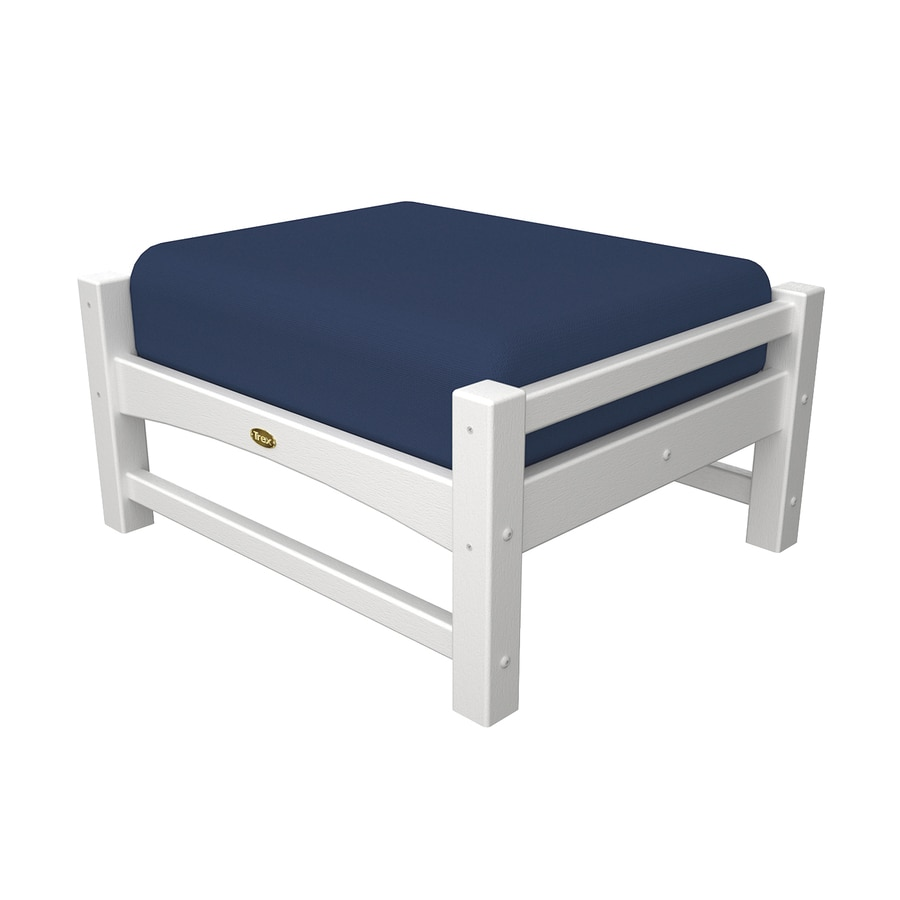 Trex Outdoor Furniture Rockport Classic White/Canvas Navy Plastic Ottoman