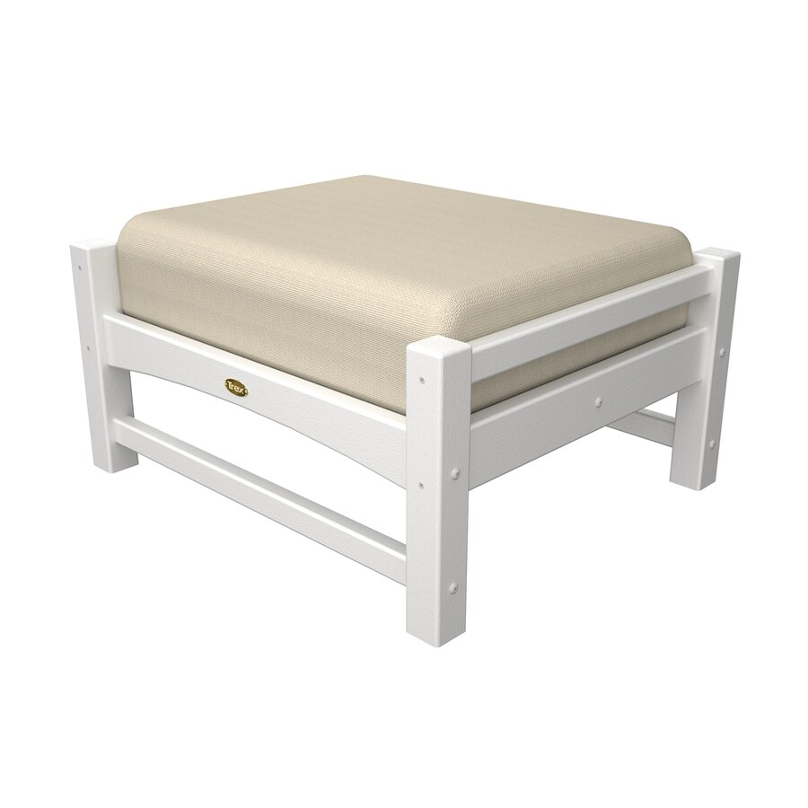 Trex Outdoor Furniture Rockport Classic White/Canvas Bird's Eye Plastic Ottoman