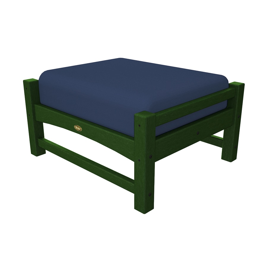 Trex Outdoor Furniture Rockport Rainforest Canopy/Canvas Navy Plastic Ottoman
