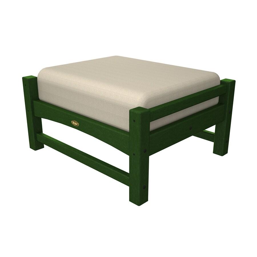 Trex Outdoor Furniture Rockport Rainforest Canopy/Canvas Bird's Eye Plastic Ottoman