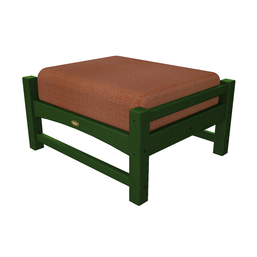 Trex Outdoor Furniture Rockport Rainforest Canopy/Linen Chili Plastic Ottoman