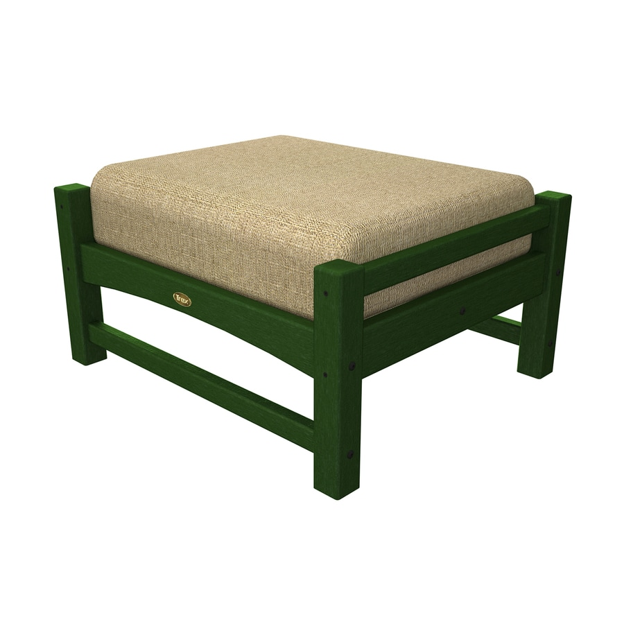 Trex Outdoor Furniture Rockport Rainforest Canopy/Linen Sesame Plastic Ottoman