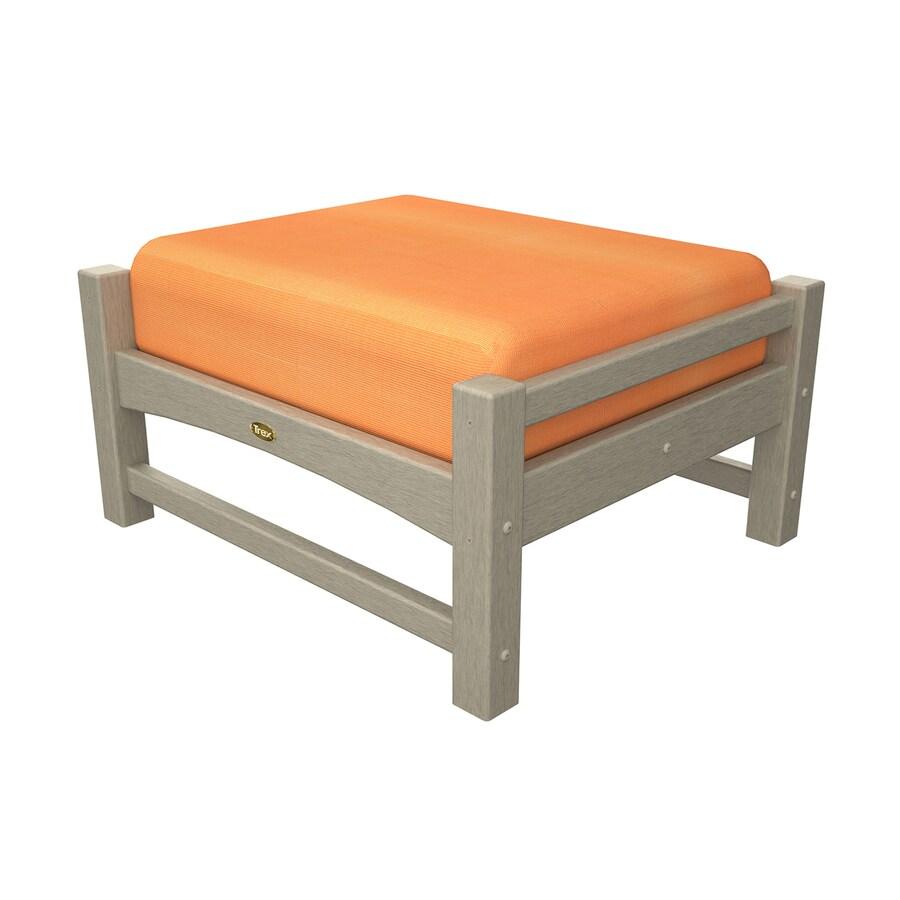 Trex Outdoor Furniture Rockport Sand Castle/Canvas Tangerine Plastic Ottoman
