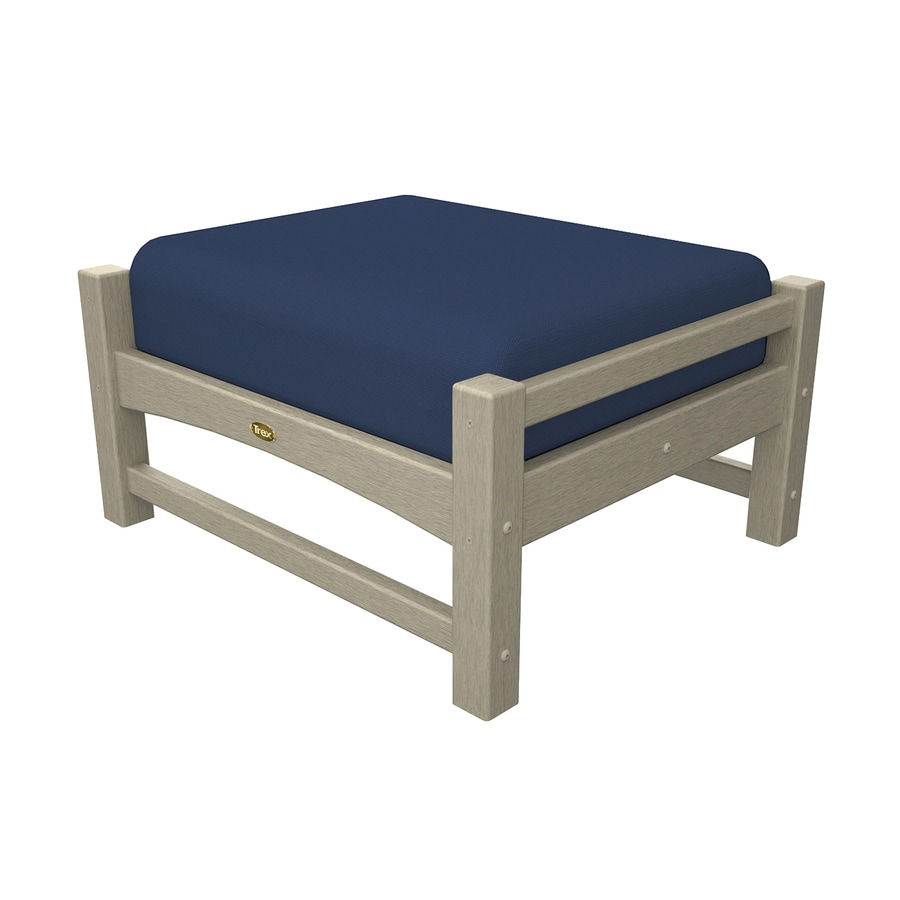 Trex Outdoor Furniture Rockport Sand Castle/Canvas Navy Plastic Ottoman