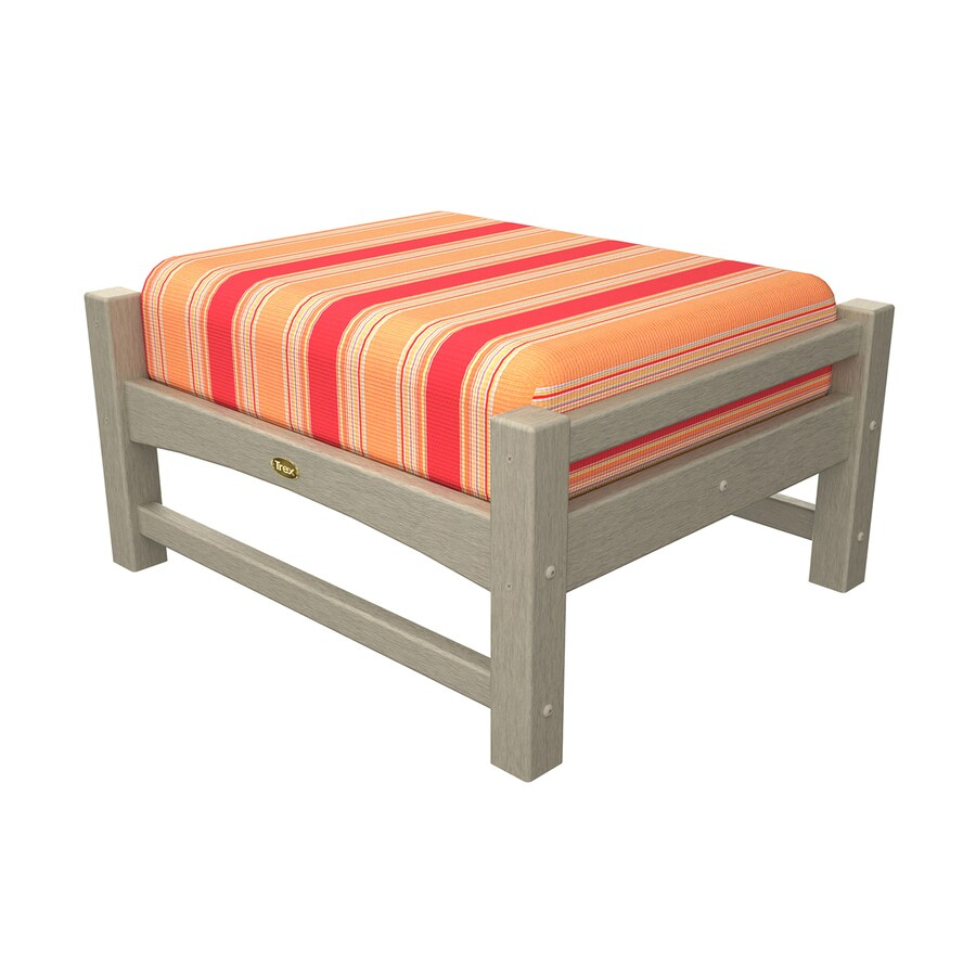 Trex Outdoor Furniture Rockport Sand Castle/Bravada Salsa Plastic Ottoman