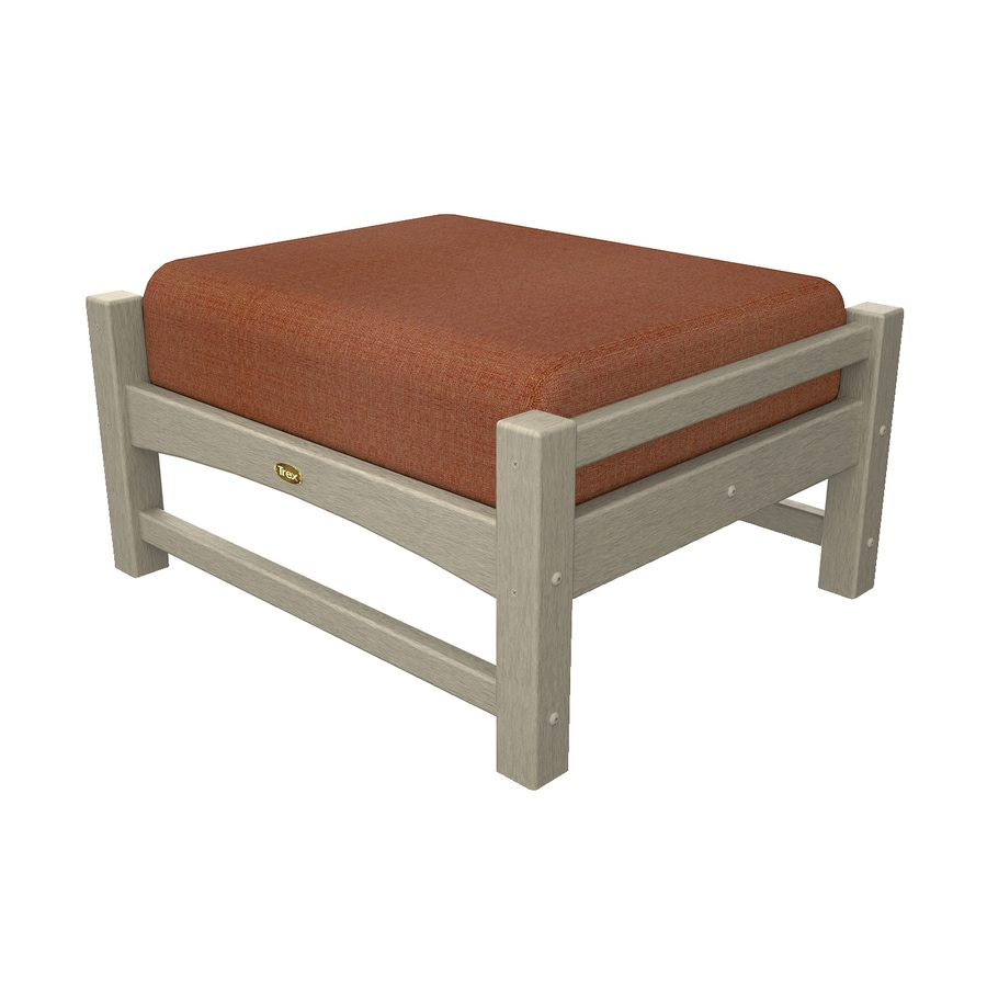 Trex Outdoor Furniture Rockport Sand Castle/Linen Chili Plastic Ottoman