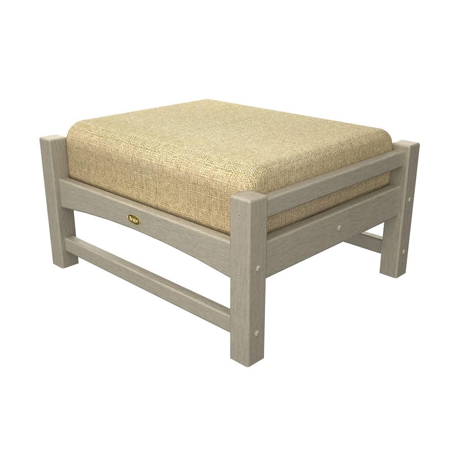 Trex Outdoor Furniture Rockport Sand Castle/Linen Sesame Plastic Ottoman
