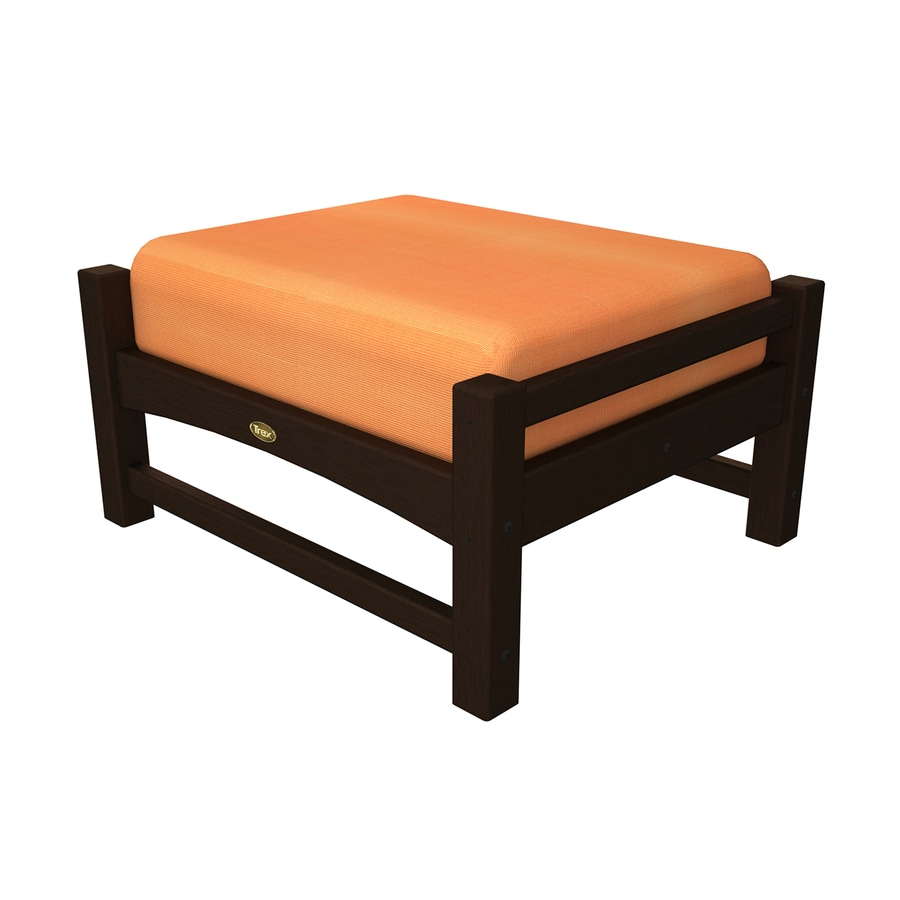 Trex Outdoor Furniture Rockport Vintage Lantern/Canvas Tangerine Plastic Ottoman
