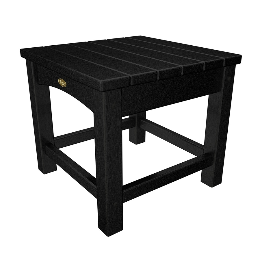 Trex Outdoor Furniture Rockport 17.75-in W x 17.75-in L Charcoal Black Square Plastic End Table