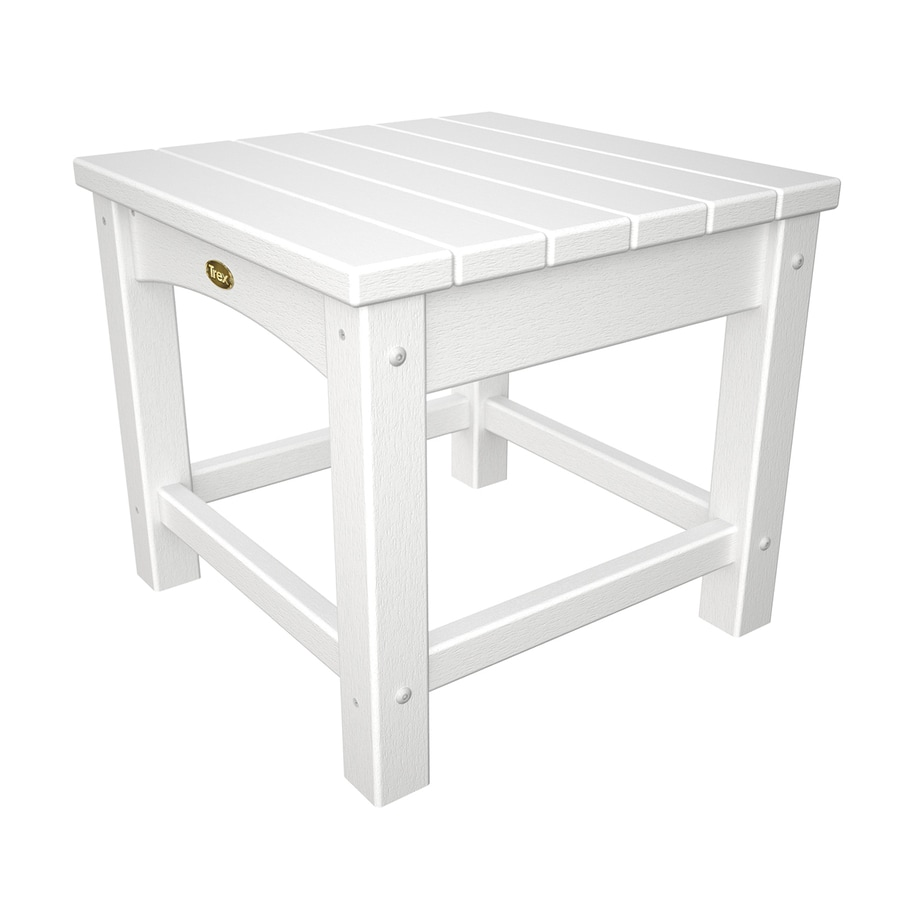 Trex Outdoor Furniture Rockport 17.75-in W x 17.75-in L Classic White Square Plastic End Table
