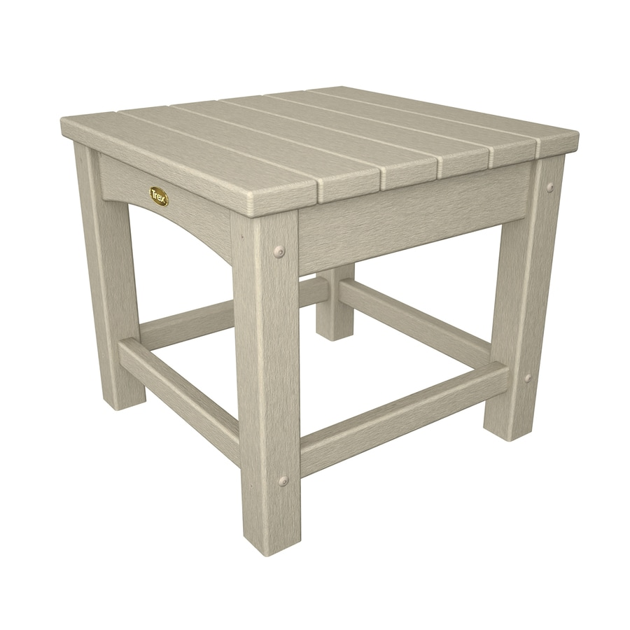 Trex Outdoor Furniture Rockport 17.75-in W x 17.75-in L Sand Castle Square Plastic End Table
