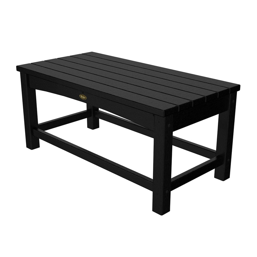 Trex Outdoor Furniture Rockport 17.75-in W x 35.5-in L Charcoal Black Rectangle Plastic Coffee Table