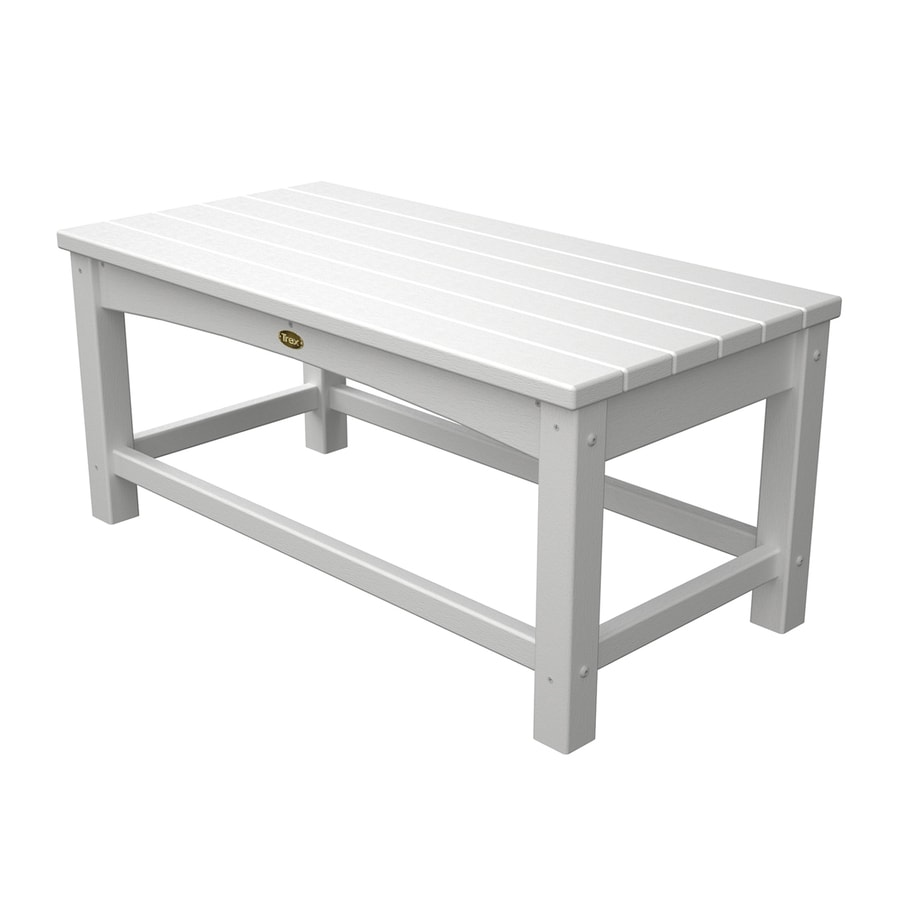 Trex Outdoor Furniture Rockport 17.75-in W x 35.5-in L Classic White Rectangle Plastic Coffee Table