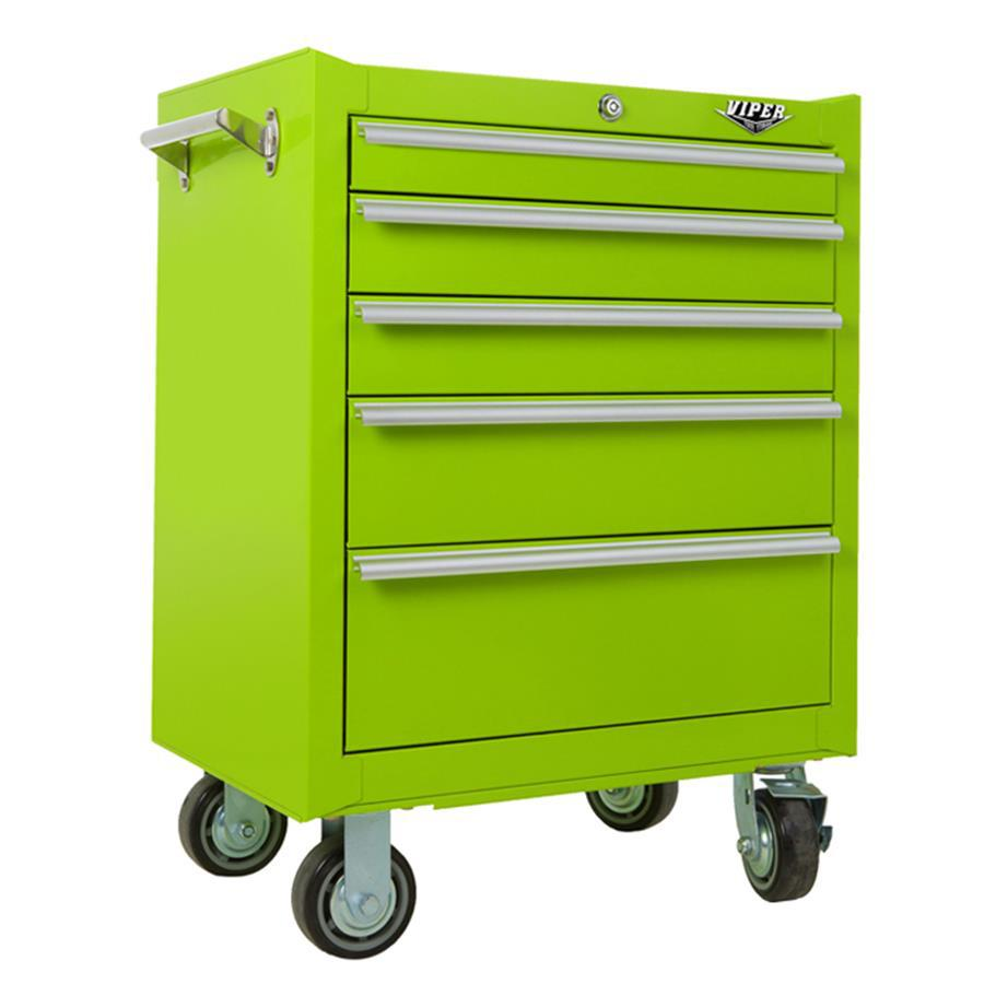 Viper Tool 28-in x 26-in 5-Drawer Ball-Bearing Steel Tool Cabinet (Green)