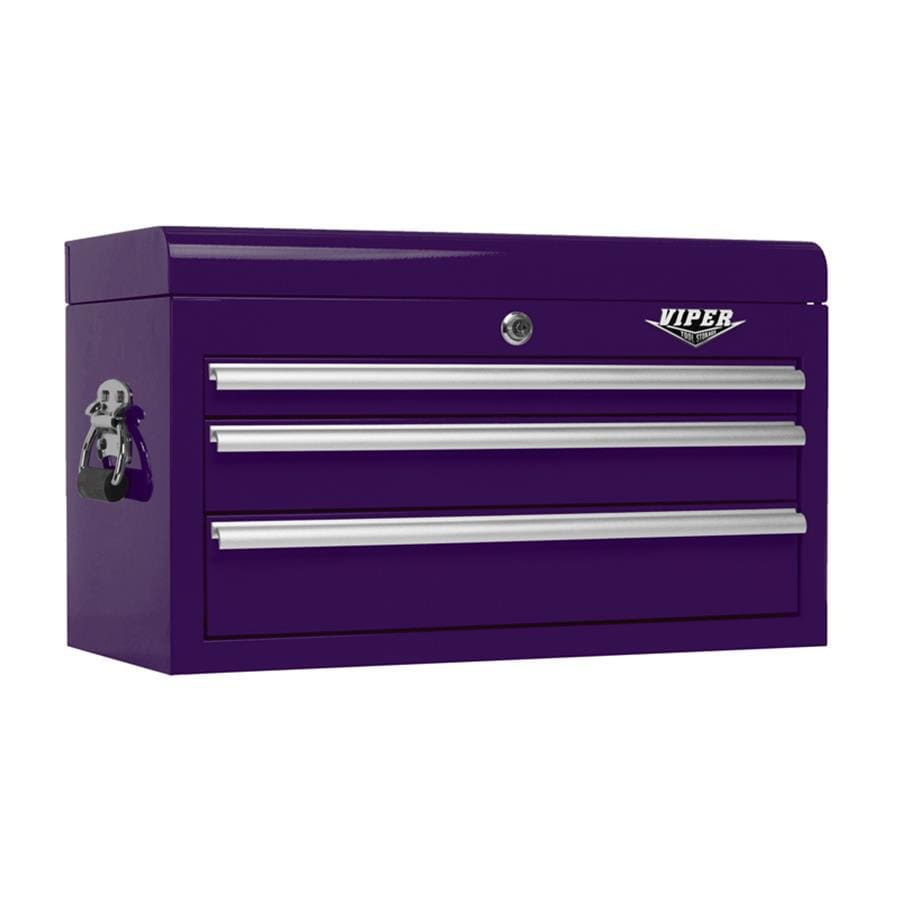 Viper Tool 15.25-in x 26-in 3-Drawer Ball-Bearing Steel Tool Chest (Purple)