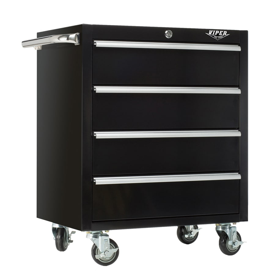 Viper Tool 28.5-in x 26.5-in 4-Drawer Ball-Bearing Steel Tool Cabinet (Black)