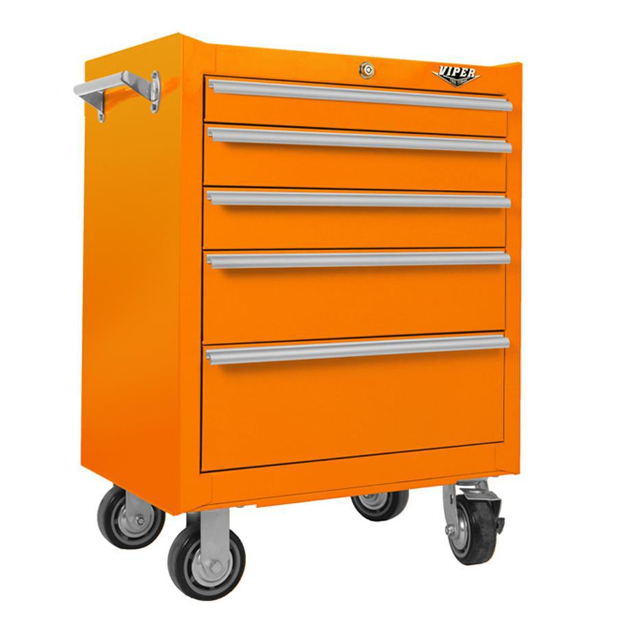 Viper Tool 35.5-in x 26-in 5-Drawer Ball-Bearing Steel Tool Cabinet (Orange)