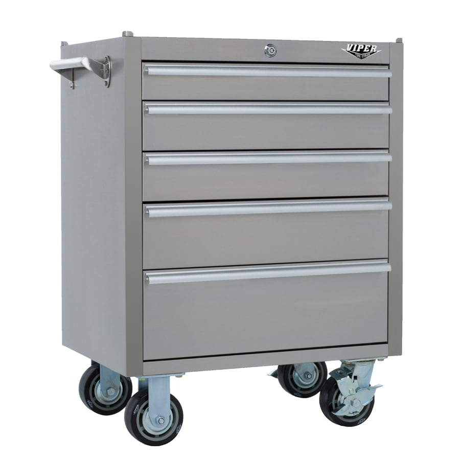 Viper Tool 35.5-in x 26-in 5-Drawer Ball-Bearing Steel Tool Cabinet (Stainless Steel)