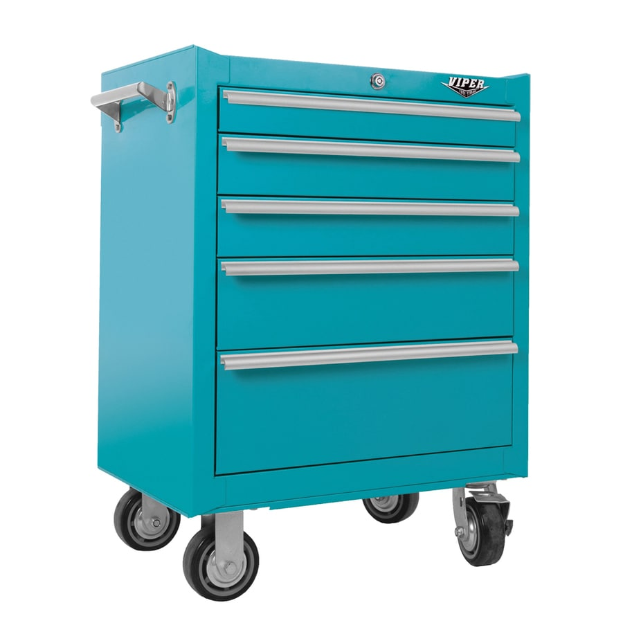 Viper Tool 35.5-in x 26-in 5-Drawer Ball-Bearing Steel Tool Cabinet (Blue)