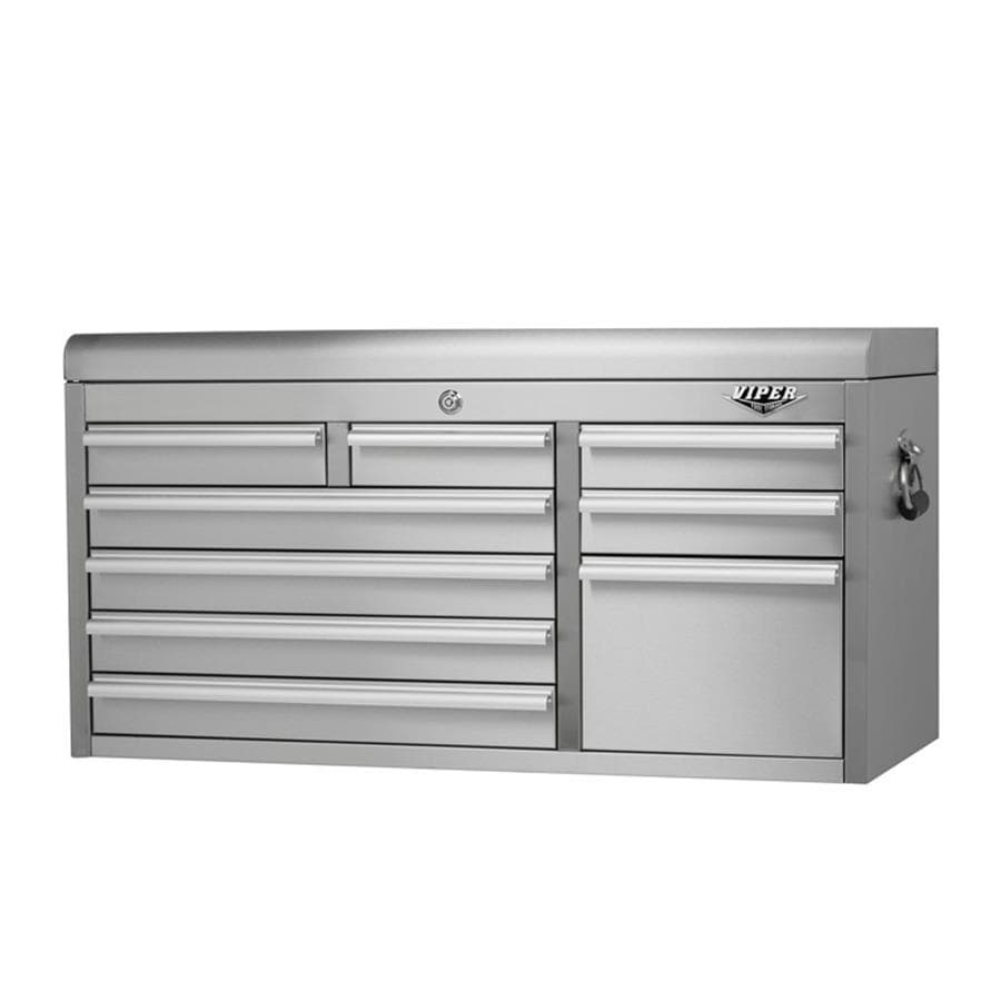 Viper Tool 20.4-in x 41-in 9-Drawer Ball-Bearing Tool Chest (Stainless Steel)