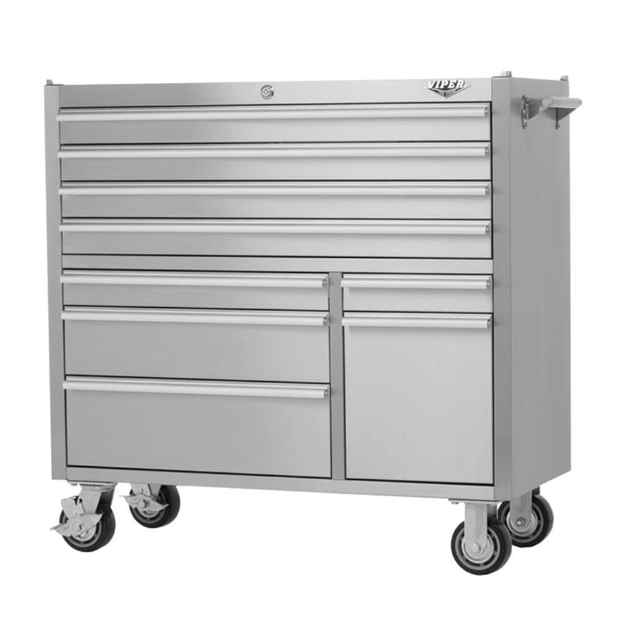 Viper Tool 40.625-in x 41.5-in 9-Drawer Ball-Bearing Steel Tool Cabinet (Stainless Steel)