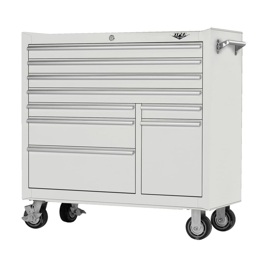 Viper Tool 40.625-in x 41.5-in 9-Drawer Ball-Bearing Steel Tool Cabinet (White)