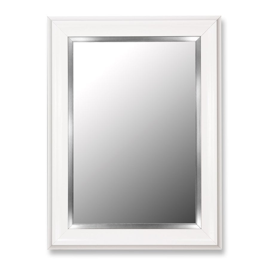 shop hitchcock butterfield 30 in x 40 in glossy white beveled rectangle framed wall mirror at. Black Bedroom Furniture Sets. Home Design Ideas