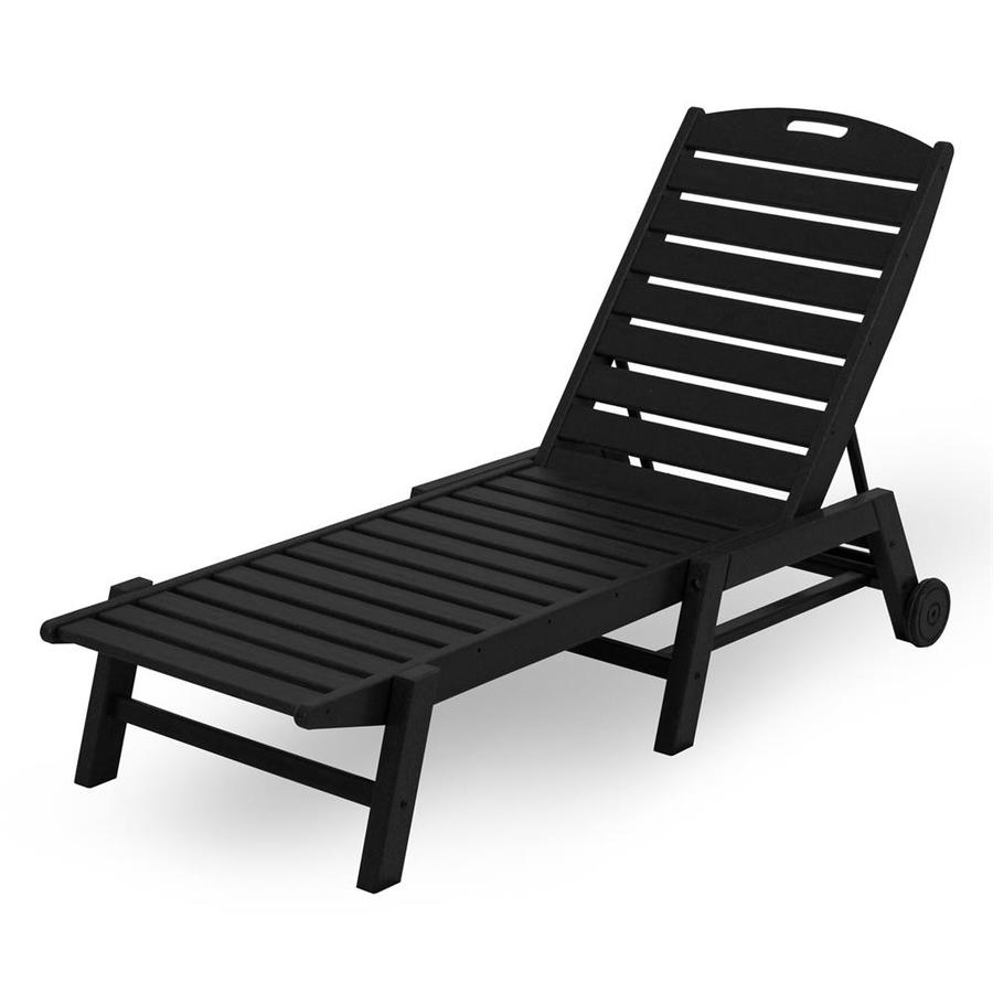 POLYWOOD Nautical Black Plastic Stackable Patio Chaise Lounge Chair
