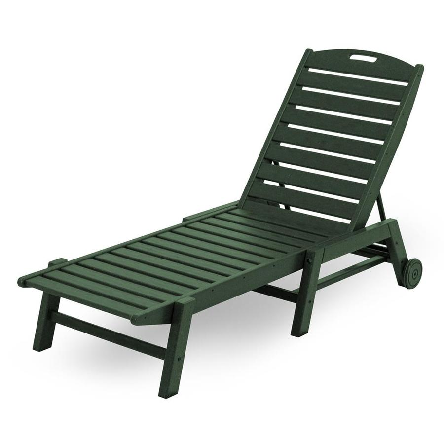 POLYWOOD Nautical Green Plastic Stackable Patio Chaise Lounge Chair