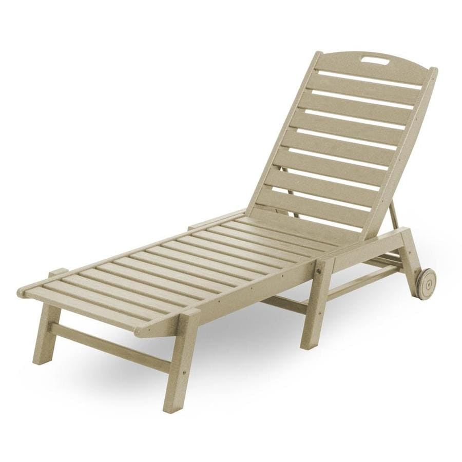 POLYWOOD Nautical Sand Plastic Stackable Patio Chaise Lounge Chair