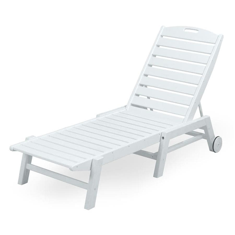 Shop POLYWOOD Nautical White Plastic Stackable Patio Chaise Lounge Chair At L